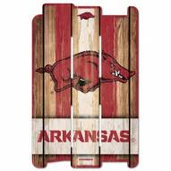 Arkansas Razorbacks Wood Fence Sign
