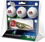 Arkansas State Red Wolves Gold Crosshair Divot Tool & 3 Golf Ball Gift Pack