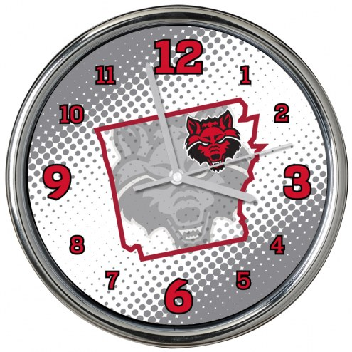 Arkansas State Red Wolves State of Mind Chrome Clock