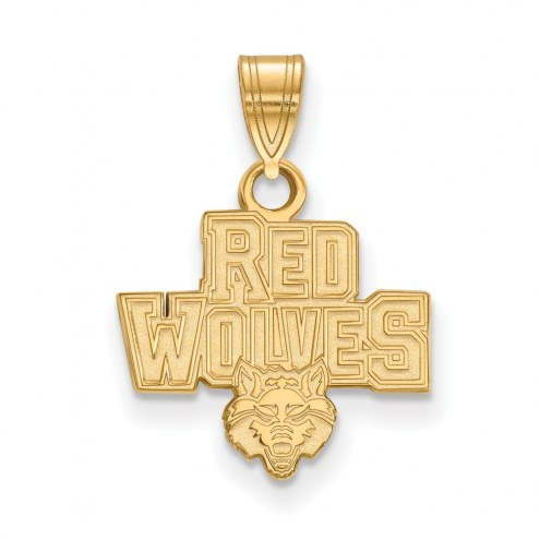 Arkansas State Red Wolves Sterling Silver Gold Plated Small Pendant