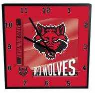 Arkansas State Red Wolves Team Black Square Clock