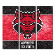 Arkansas State Red Wolves Triptych Double Border Canvas Wall Art