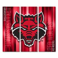 Arkansas State Red Wolves Triptych Rush Canvas Wall Art