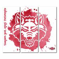 Arkansas State Red Wolves Triptych Watercolor Canvas Wall Art
