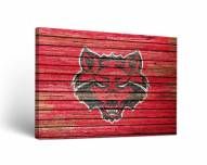 Arkansas State Red Wolves Weathered Canvas Wall Art