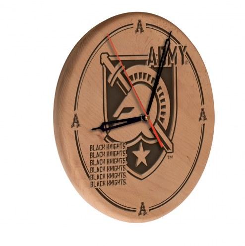 Army Black Knights Laser Engraved Wood Clock