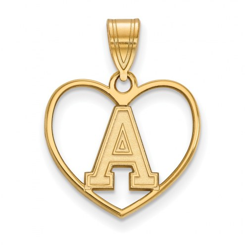 Army Black Knights Sterling Silver Gold Plated Heart Pendant