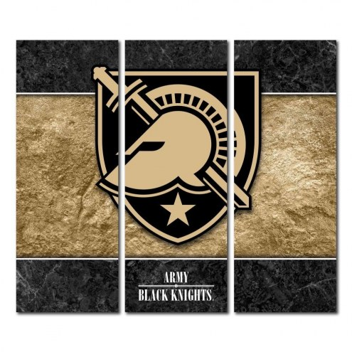 Army Black Knights Triptych Double Border Canvas Wall Art