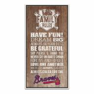 Atlanta Braves Family Rules Icon Wood Framed Printed Canvas