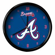 Atlanta Braves Black Rim Clock