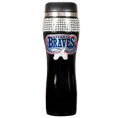 Atlanta Braves Black Stainless Steel Bling Travel Tumbler