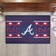 Atlanta Braves Christmas Sweater Starter Rug