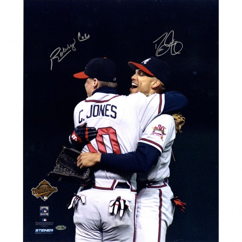 "Atlanta Braves David Justice/Bobby Cox Hugging Chipper Jones Signed 16"" x 20"" Photo"
