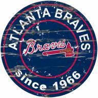 Atlanta Braves Distressed Round Sign