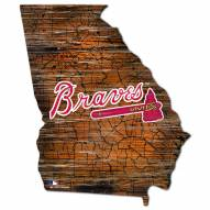 Atlanta Braves Distressed State with Logo Sign