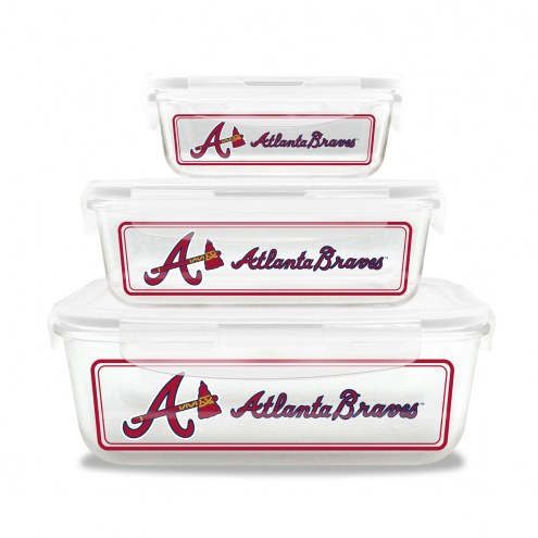 Atlanta Braves Glass Food Container Set