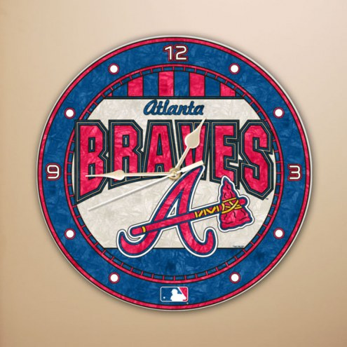 Atlanta Braves MLB Stained Glass Wall Clock