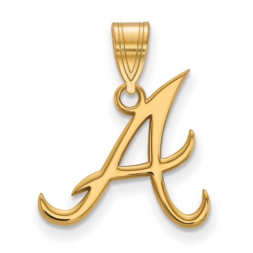 Atlanta Braves MLB Sterling Silver Gold Plated Medium Pendant
