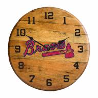 Atlanta Braves Oak Barrel Clock