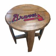 Atlanta Braves Oak Barrel Table