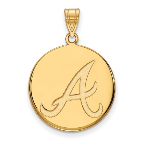 Atlanta Braves Sterling Silver Gold Plated Large Disc Pendant