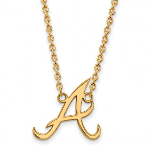 Atlanta Braves Sterling Silver Gold Plated Large Pendant Necklace
