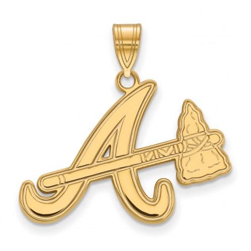 Atlanta Braves Sterling Silver Gold Plated Large Pendant