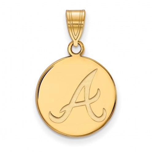 Atlanta Braves Sterling Silver Gold Plated Medium Disc Pendant