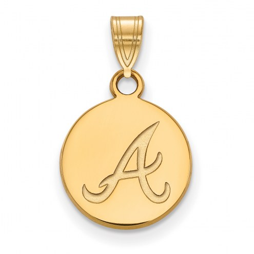 Atlanta Braves Sterling Silver Gold Plated Small Disc Pendant