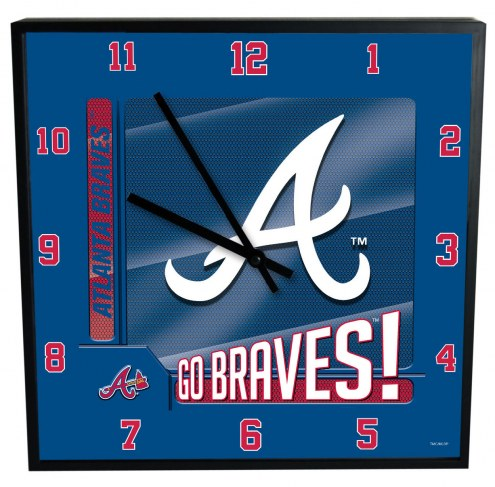 Atlanta Braves Team Black Square Clock
