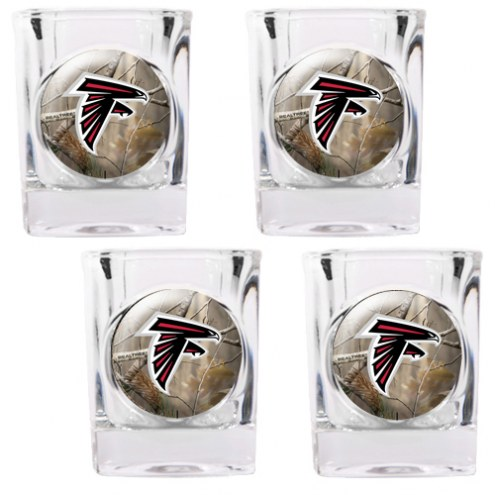 Atlanta Falcons Open Field 4-Piece RealTree Square Shot Glass Set