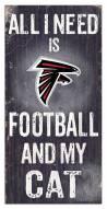 """Atlanta Falcons 6"""" x 12"""" Football & My Cat Sign"""