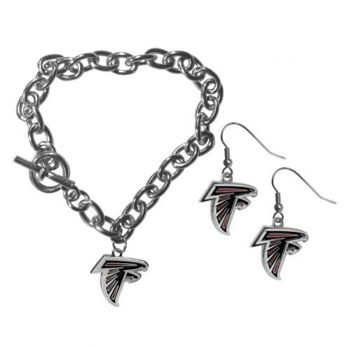 Atlanta Falcons Chain Bracelet & Dangle Earring Set