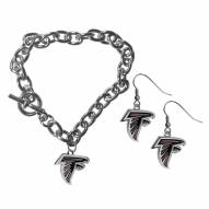 Atlanta Falcons Chain Bracelet & Dangle Earring Set