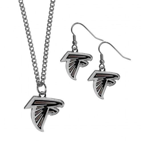 Atlanta Falcons Dangle Earrings & Chain Necklace Set