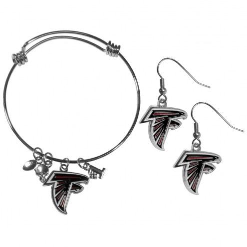 Atlanta Falcons Dangle Earrings & Charm Bangle Bracelet Set