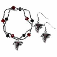 Atlanta Falcons Dangle Earrings & Crystal Bead Bracelet Set