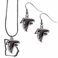 Atlanta Falcons Dangle Earrings & State Necklace Set