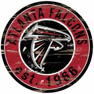 Atlanta Falcons Distressed Round Sign