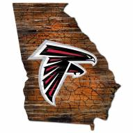 Atlanta Falcons Distressed State with Logo Sign