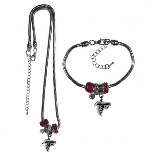 Atlanta Falcons Euro Bead Necklace & Bracelet Set