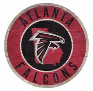 Atlanta Falcons Round State Wood Sign
