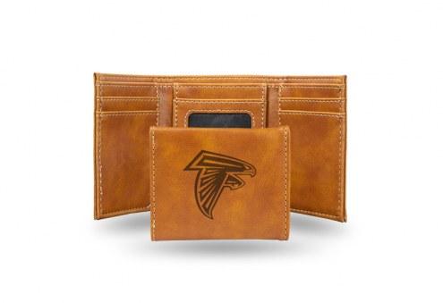Atlanta Falcons Laser Engraved Brown Trifold Wallet