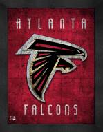 Atlanta Falcons Retro Logo Map Framed Print