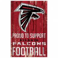 Atlanta Falcons Proud to Support Wood Sign