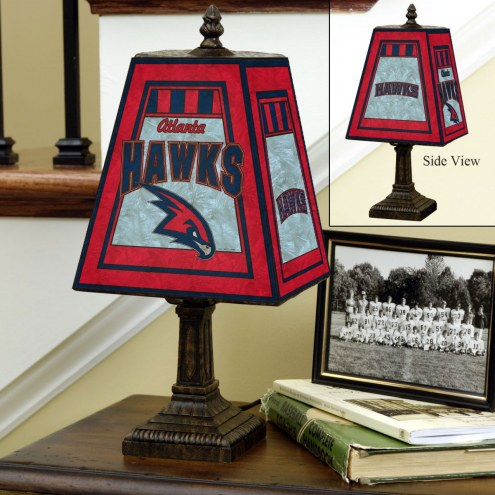 Atlanta Hawks Hand-Painted Art Glass Table Lamp