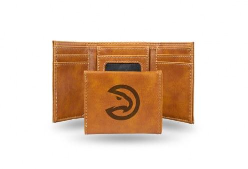 Atlanta Hawks Laser Engraved Brown Trifold Wallet