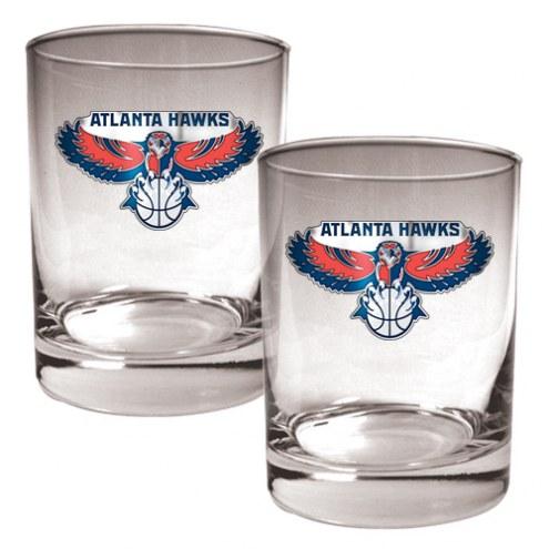 Atlanta Hawks NBA 2-Piece 14 Oz. Rocks Glass Set