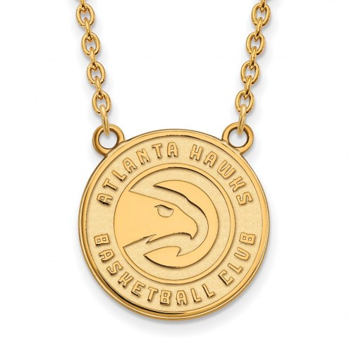 Atlanta Hawks Sterling Silver Gold Plated Large Pendant Necklace
