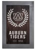 """Auburn Tigers 11"""" x 19"""" Laurel Wreath Framed Sign"""